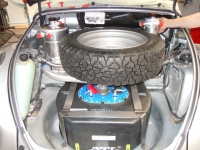Fuel tank straps, spare wheel mount, oil tank, oil catch tank, fuel filler - Rally Beelte