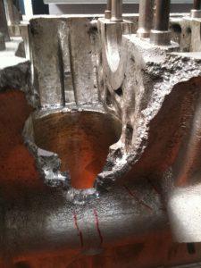 Hole in block of 1950's gradprix car