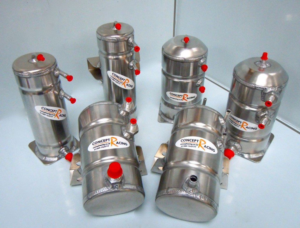 Petrol Swirl Pots - Rear or base mount, 1 or 1.5 litres, bolt up or push on fittings